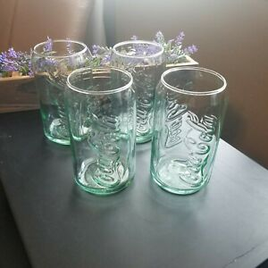 Coca-Cola Coke 4 Green Tint Drinking Glass Can Shaped Cup Vintage Style Soda