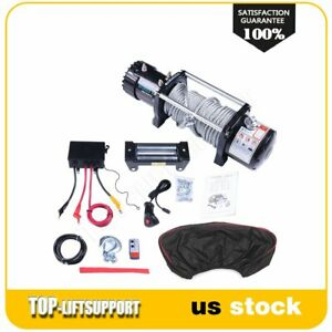 9500lbs 12v Towing Recovery Electric Winch Kit W Steel Cable Remote W cover