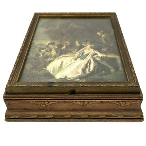Antique Jewelry Box 1800s French Portrait Print Glass Covered Glass Foil Lined