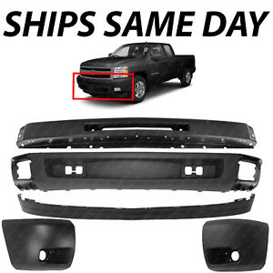 New Front Bumper Face Bar Kit For 2007 2013 Chevy Silverado 1500 Series W Fog