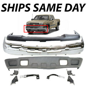 New Complete Steel Front Bumper Kit For 2003 2007 Chevy Silverado 1500 Avalanche