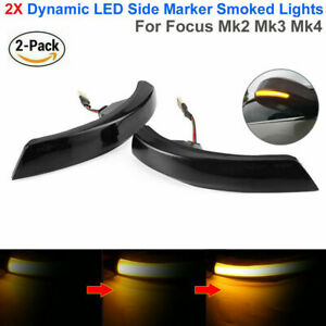 2x Dynamic Wing Mirror Led Indicator Turn Signal Light For Ford Focus Mk2 Mk3 4