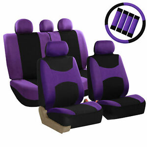 Auto Seat Cover For Car Truck Suv Van W Steering Cover Belt Pads Purple