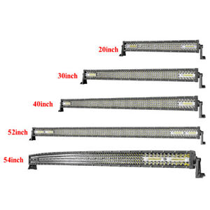 Led Light Bar 20 30 40 52 54 Inch Curved Straight Spot Flood Offroad Driving