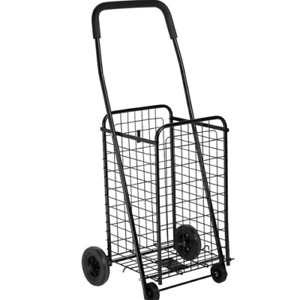 Folding Shopping Cart Basket With Wheels For Laundry Travel Grocery Shopping