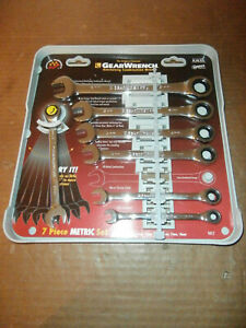 New 7 Piece Gearwrench Metric Ratcheting Combination Wrench Set