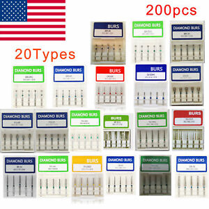 200pc 40 Box Dental Diamond Burs For High Speed Handpiece Medium Fg 1 6mm R1u