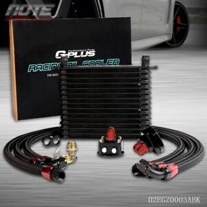 Full Aluminum Powder Coated Engine Oil Cooler 15 Row 10an Filter Relocation Kit