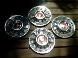 Four 1957 Cadillac Hubcaps Wheel Covers Oem With Center Emblems Ratrod Fave