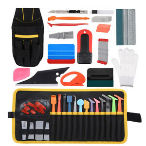 Pro Car Vinyl Wrapping Kit Tools Bag Magnet Micro Squeegee Window Tint Install