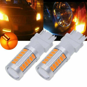 2pcs Amber 3157 3457 3057 Signal 33smd Backup Reverse Tail Turn Led Light Bulbs