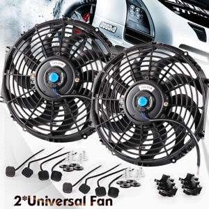 2x 12v 12 Inch Universal Cooling Fan Slim Push Pull Electric Radiator Mount Kit