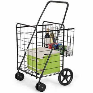Folding Shopping Cart Jumbo Basket Grocery Laundry Travel W Swivel Wheels New
