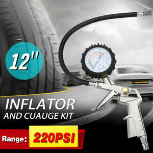 220 Psi Pistol Type Air Chuck With Dial Tire Inflator Gauge W Flexible Hose New