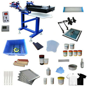 3color 1 Station Printer Floor Type Screen Printing Kit With Rotary Flash Dryer