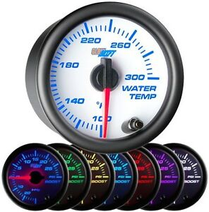 52mm Glowshift White 7 Color Coolant Temperature Water Temp Gauge Meter Gs W706
