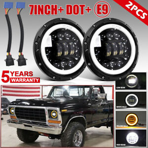 2pcs 7 Led Headlights For Ford F 100 F 250 F 350 1953 1977 Mustang 1964 1973