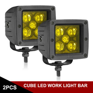 2x 3inch 80w Cree Led Work Lights Cube Pods Amber Fog Driving Spot 3000k Offroad