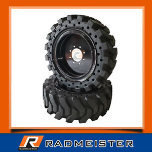 Set Of 4 Solid Skid Steer Tires 12x16 5 W rims Bobcat Cat John Deere New Holland