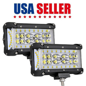 2x 6inch 440w Quad Row Led Light Bar Spot Flood Side Shooter Driving Offroad 4wd