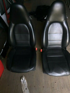 2 Porsche 911 996 Leather Front Power Seats Tracks Drivers And Passenger Side