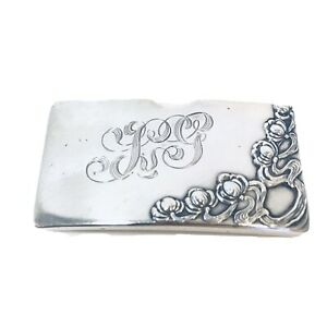 Kerr Sterling Silver Art Nouveau Floral Card Holder W Calling Card Curved