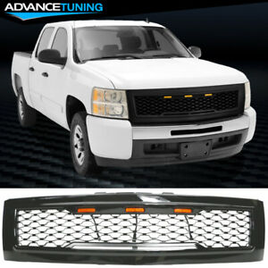 Fits 07 13 Chevy Silverado 1500 Front Bumper Hood Upper Grille Gloss Black