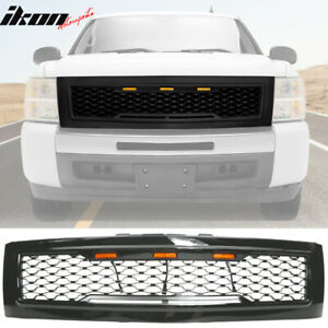 Fits 07 13 Chevy Silverado 1500 Front Bumper Hood Mesh Grille Gloss Black