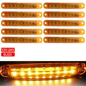 10pcs Amber 9 Led Sealed Side Marker Clearance Light 12v Car Truck Trailer Lorry
