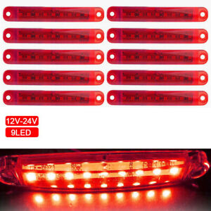 10pcs Red 9 Led Sealed Side Marker Clearance Light 12v Car Truck Trailer Lorry