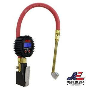 Compact Digital Tire Inflator With Pressure Gauge 255 Psi Air Chuck
