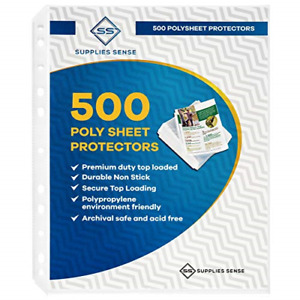 500 Page Protectors 8 5 X 11 Top Loading 3 Hole Design Sheet Protectors Safe