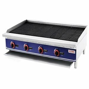 Kitma Natural Gas Char Rock Broiler With Grill 48 Inches