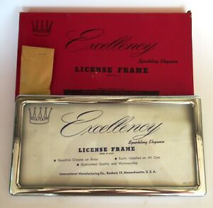 50s Excellency Prestige License Plate Cover Frame Metal Vintage Nos Glass Holder
