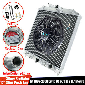 3 row Core Aluminum Radiator 12 Cooling Fan Black Fit 1992 00 Civic Eg Integra