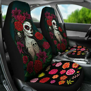 2pc Women Red Flower Car Truck Seat Cover Cushion Front Protector Waterproof Set