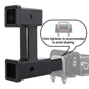 Dual 2 Trailer Hitch Receiver Rise Drop Adapter Extender 4000lb Tow W Lock New