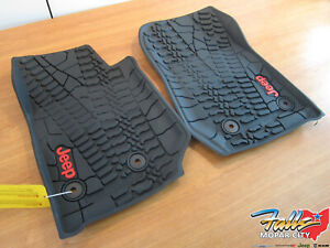 2014 2018 Jeep Wrangler Jk Front High Wall All Weather Floor Mats New Mopar Oem