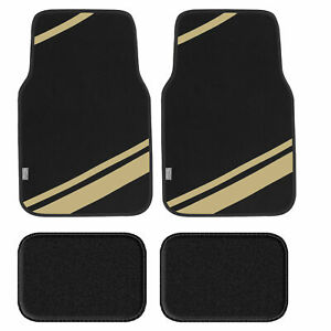 Carpet Liners Car Floor Mats With Faux Leather Stripes Full Set