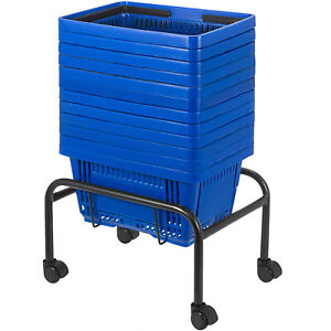 Blue Plastic Shopping Basket Pack Of 12 Handled Baskets Durable Material