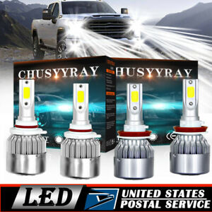 4pcs 9005 H11 Led Headlight Kits For Chevy Silverado 1500 2500 3500 Hd 2007 2019