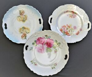 Lot Of 3 Antique German And French 3 Cake Plates Floral Figural