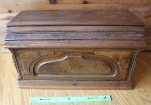 A Keller Wooden Box Top Sewing Machine Cover Vintage Locking Antique Piece Wood