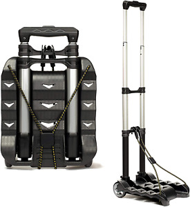 Cart Folding Dolly Collapsible Trolley Push Hand Lightweight Aluminum Black