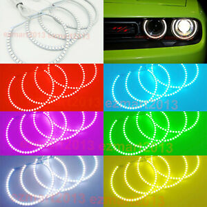 Rf Rgb Led Halo Rings For Dodge Challenger 2015 2020 Car Headlight Angel Eye Drl