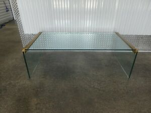1970 S Pace Style Waterfall Glass Coffee Table