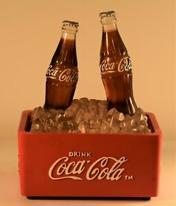 1970s Vintage Coca Cola Light Up Music Box Display 2 Bottles on Ice in Cooler
