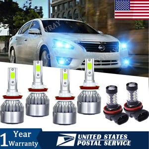 For Nissan Altima 2007 2017 Led Headlight Hi low H8 H9 H11 Fog Light Combo Kit 6