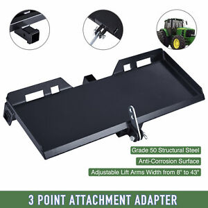 3 point Attachment Adapter W Hitch For Kubota Bobcat Skidsteer Tractor Loader
