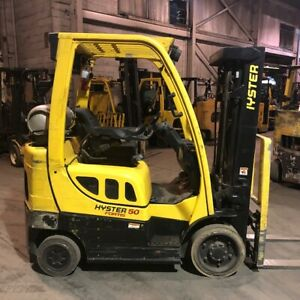 2014 Hyster S50ft 5000lbs Used Forklift W triple Mast Sideshift Lp Gas
